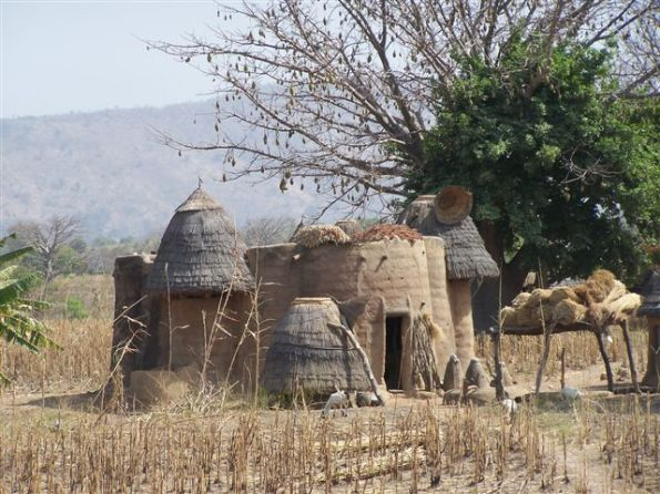 The tata, or traditional house built by the Tamberma people.  Note the mud images in front of the house.  The Tamberma tribe is perhaps the most animistic tribe we have seen in Togo.  We have the beginning of a church in this region, and it has not been uncontested.  We must pray for these people.